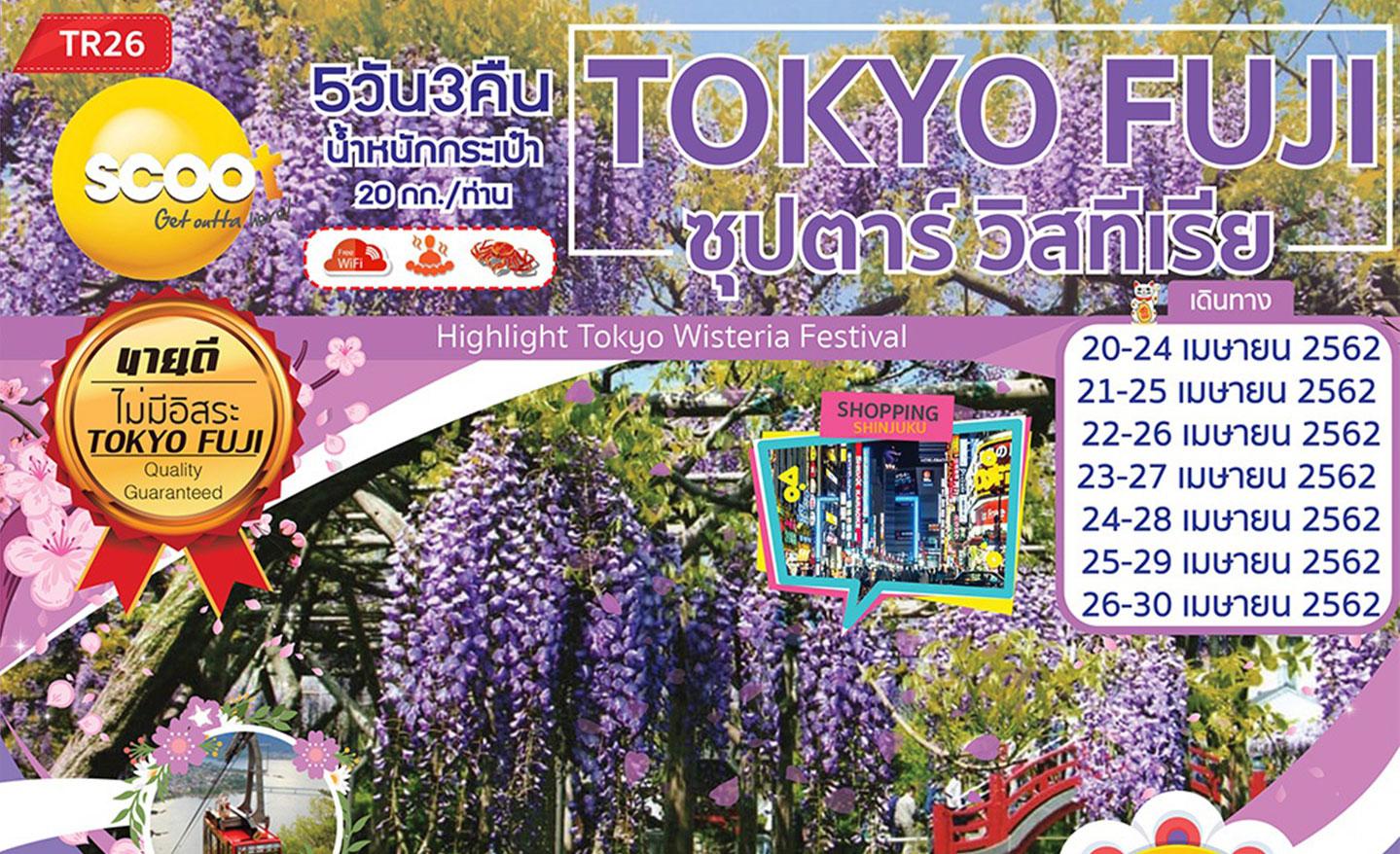 ทัวร์ญี่ปุ่น Tokyo Fuji ซุปตาร์ วิสทีเรีย (เม.ย.62)