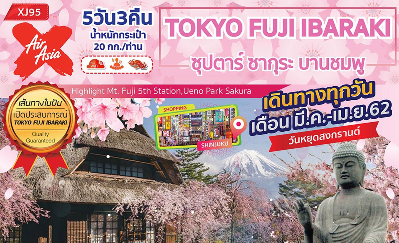 ทัวร์ญี่ปุ่น Tokyo Fuji Ibaraki ซุปตาร์ ซากุระ บานชมพู (มี.ค.-เม.ย.62)