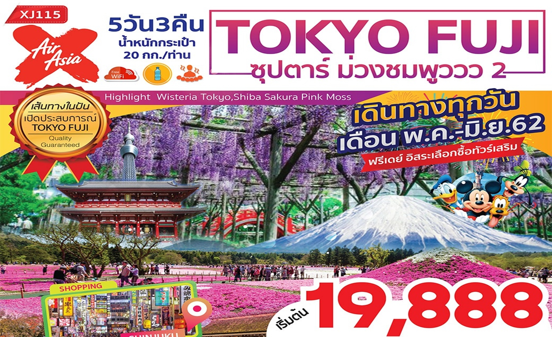 ทัวร์ญี่ปุ่น Tokyo Fuji ซุปตาร์ ม่วงชมพูววว 2 (พ.ค.-มิ.ย.62)