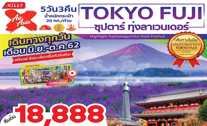 ทัวร์ญี่ปุ่น Tokyo Fuji ซุปตาร์ ทุ่งลาเวนเดอร์ (มิ.ย.-ต.ค.62)