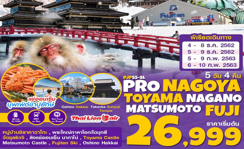 ทัวร์ญี่ปุ่น Pro Nagoya Shirakawago Toyama Nagano Matsumoto Fuji5D4N (ก.พ.63)