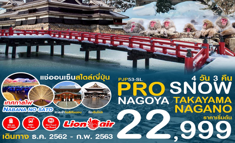 ทัวร์ญี่ปุ่น Pro Snow Nagoya Takayama Nagano 4D3N (ม.ค.-มี.ค.63)