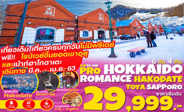 ทัวร์ญี่ปุ่น Pro Hokkaido Romance Hakodate Toya Sapporo เที่ยวเต็ม ไม่มีฟรีเดย์ 6D4N (มี.ค.-เม.ย.63)
