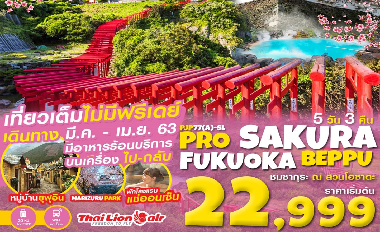 ทัวร์ญี่ปุ่น Pro Sakura Fukuoka Beppu 5D3N (มี.ค.-เม.ย.63)