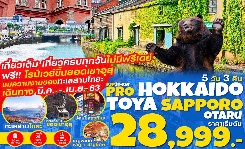 ทัวร์ญี่ปุ่น Pro Hokkaido Toya Sapporo Otaru เที่ยวเต็ม ไม่มีฟรีเดย์ 5D3N (มี.ค.-เม.ย.63)